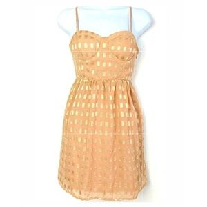 Forever 21 Peach Beige Nude Gold Fit Flare Dress